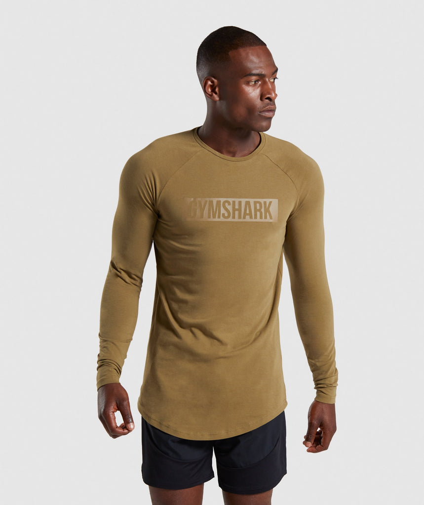 Gymshark Block Long Sleeve T-Shirt - Khaki 1