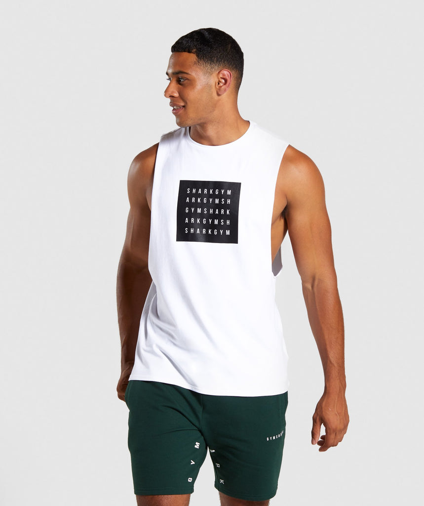 Gymshark Contrast Drop Armhole Tank - White 1