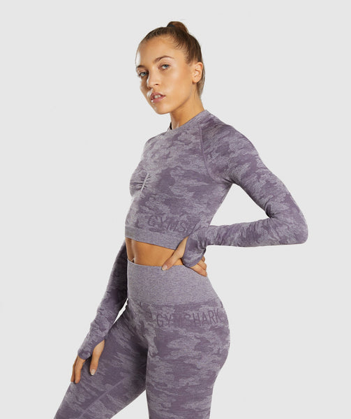 Gymshark Camo Seamless Long Sleeve Crop Top - Lavender Grey 2