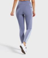 Gymshark Colour Block Leggings - Steel Blue Tones 8