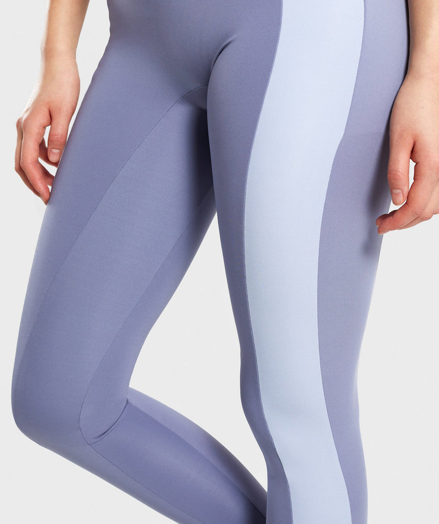 Gymshark Colour Block Leggings - Steel Blue Tones 6