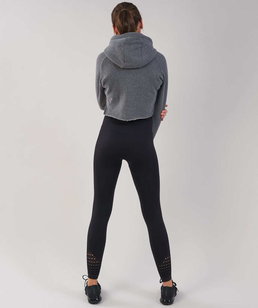 Gymshark Cropped Raw Edge Hoodie - Charcoal Marl 2