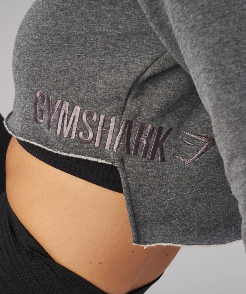 Gymshark Cropped Raw Edge Hoodie - Charcoal Marl 6