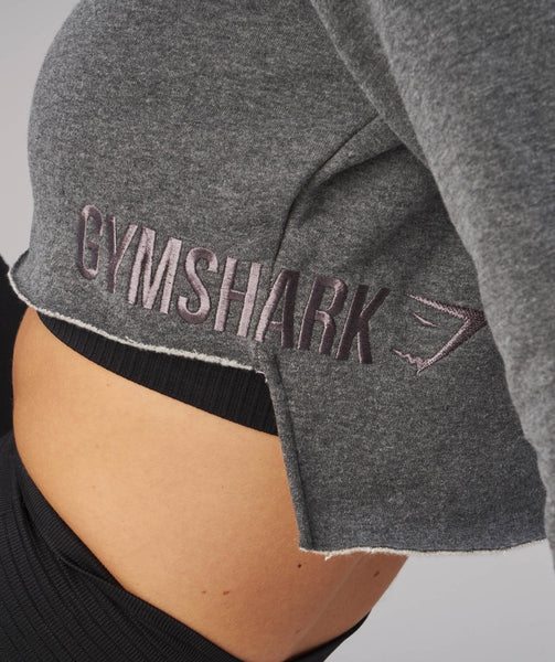 Gymshark Cropped Raw Edge Hoodie - Charcoal Marl 4
