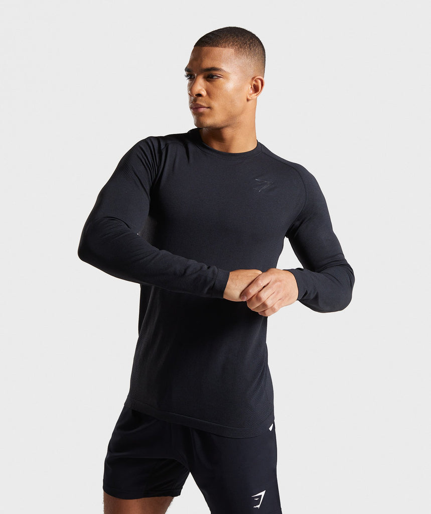Gymshark Define Seamless Long Sleeve T-Shirt - Black Marl 1