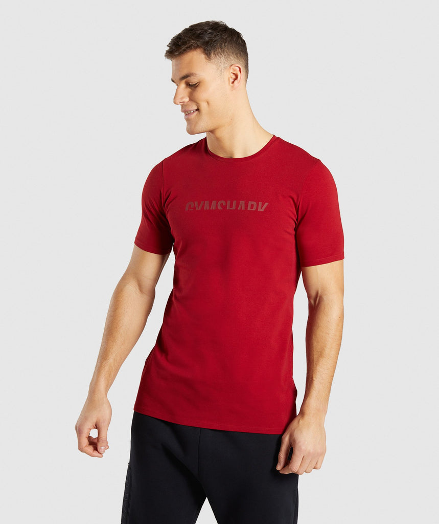 Gymshark Divide T-Shirt - Full Red 4