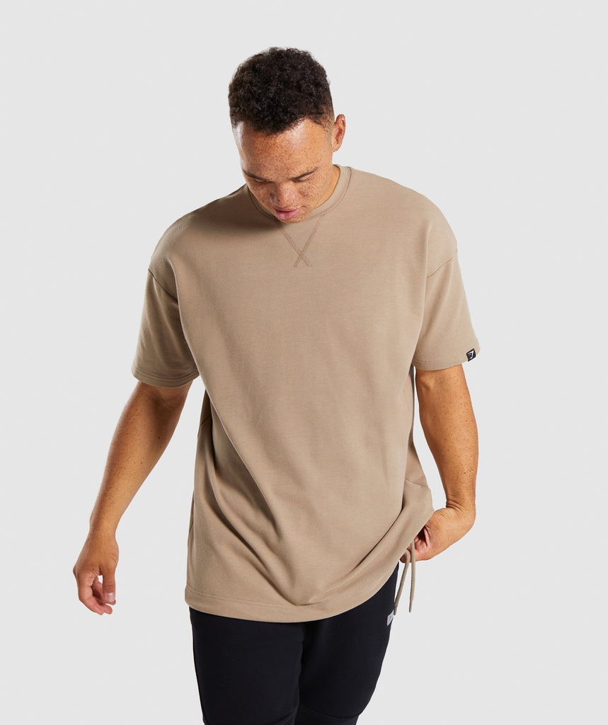 Gymshark Drawcord Sweat T-Shirt - Driftwood Brown 4