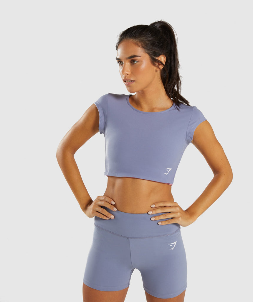 Gymshark Dreamy Cap Sleeve Crop Top - Steel Blue 1