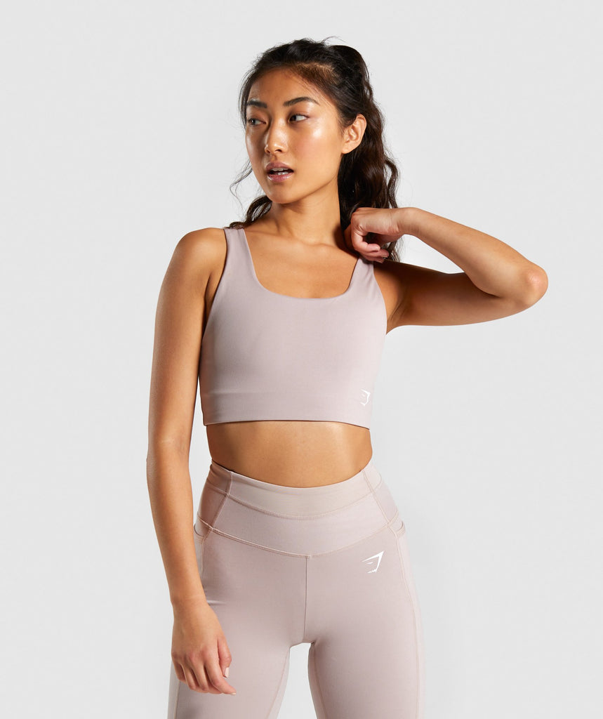 Gymshark Dreamy Sports Bra - Taupe/White 1
