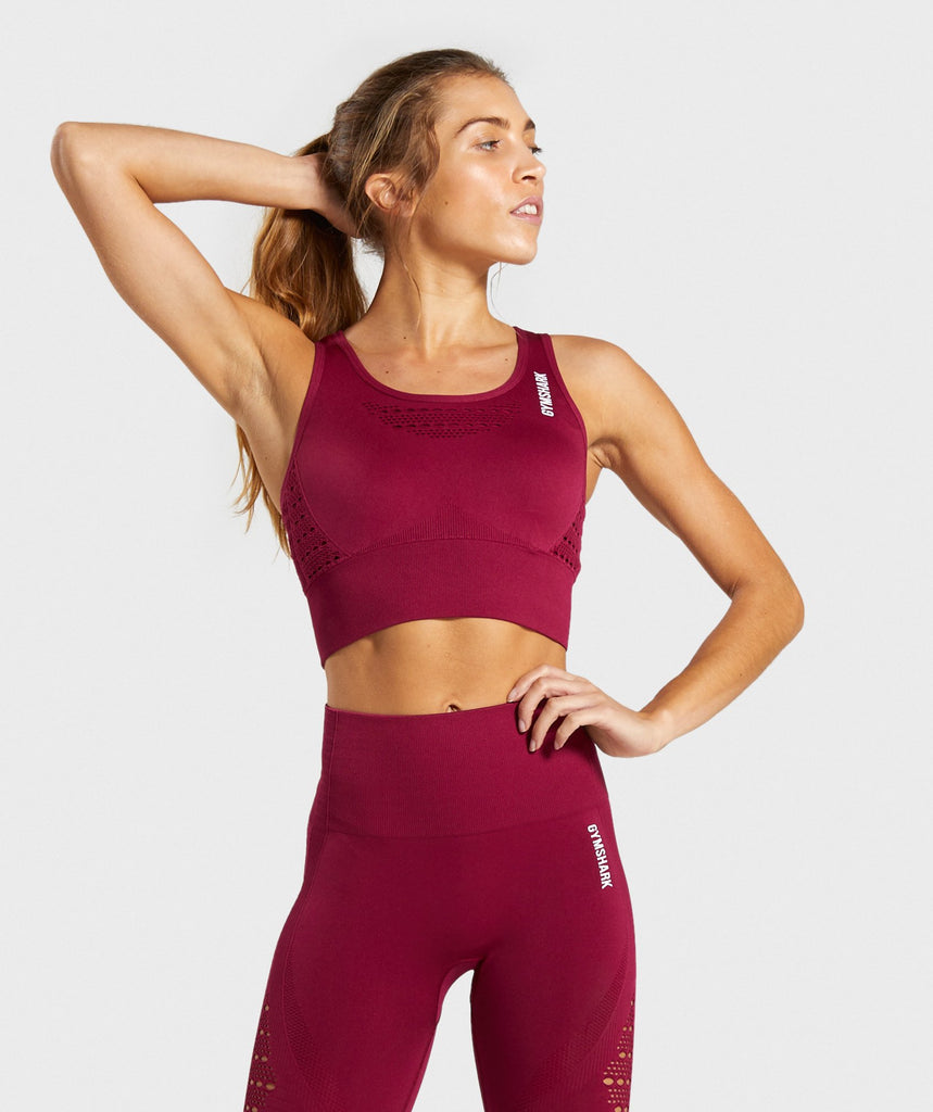 Gymshark Energy+ Seamless Crop Top - Beet 1