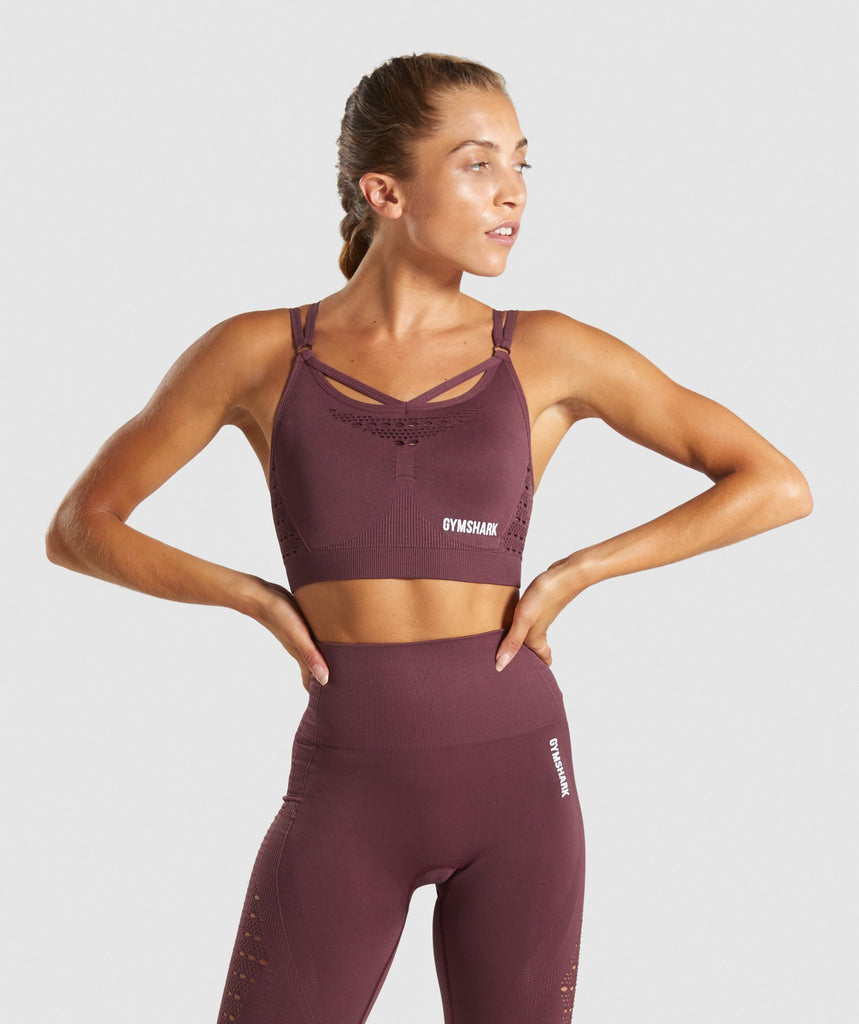 Gymshark Energy+ Seamless Sports Bra - Berry Red 1