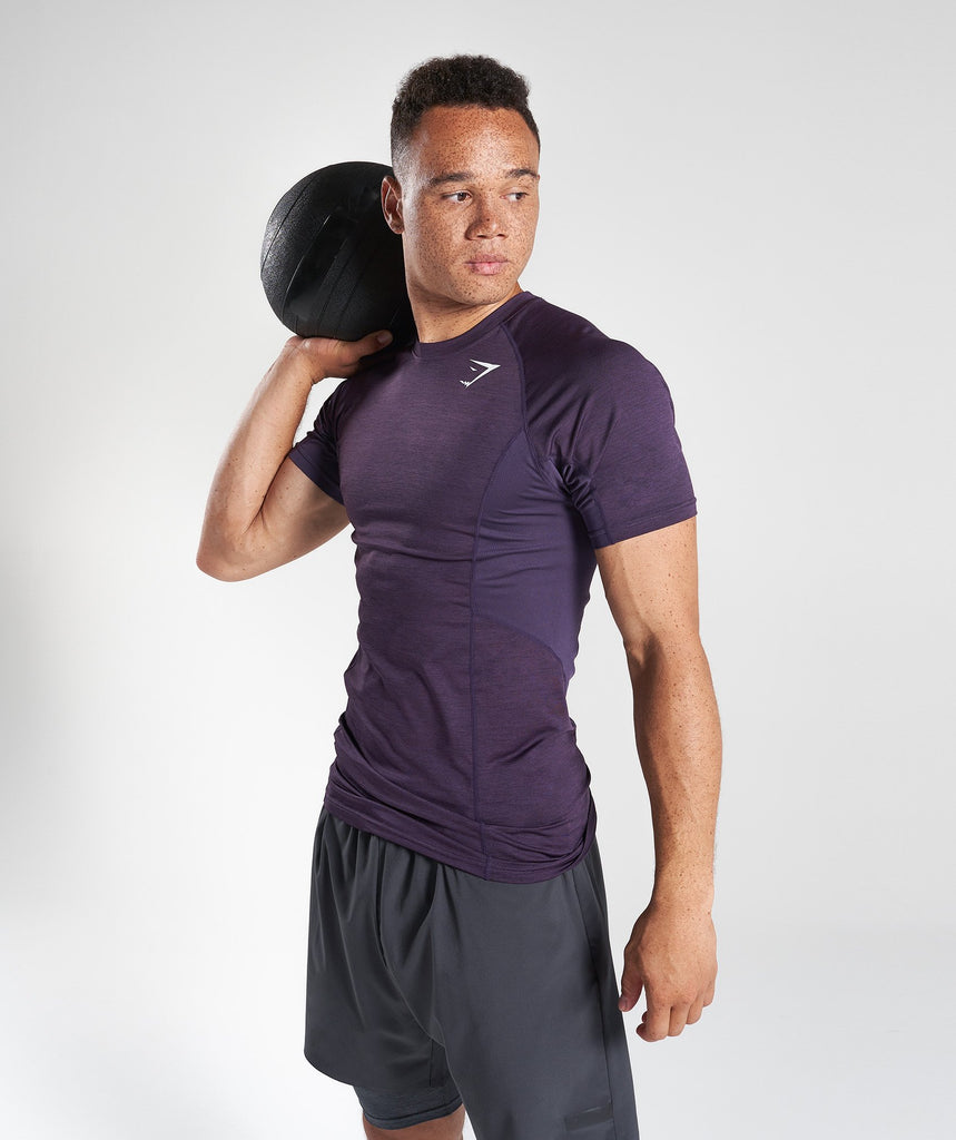 Gymshark Element Baselayer Short Sleeve Top - Nightshade Purple Marl 1