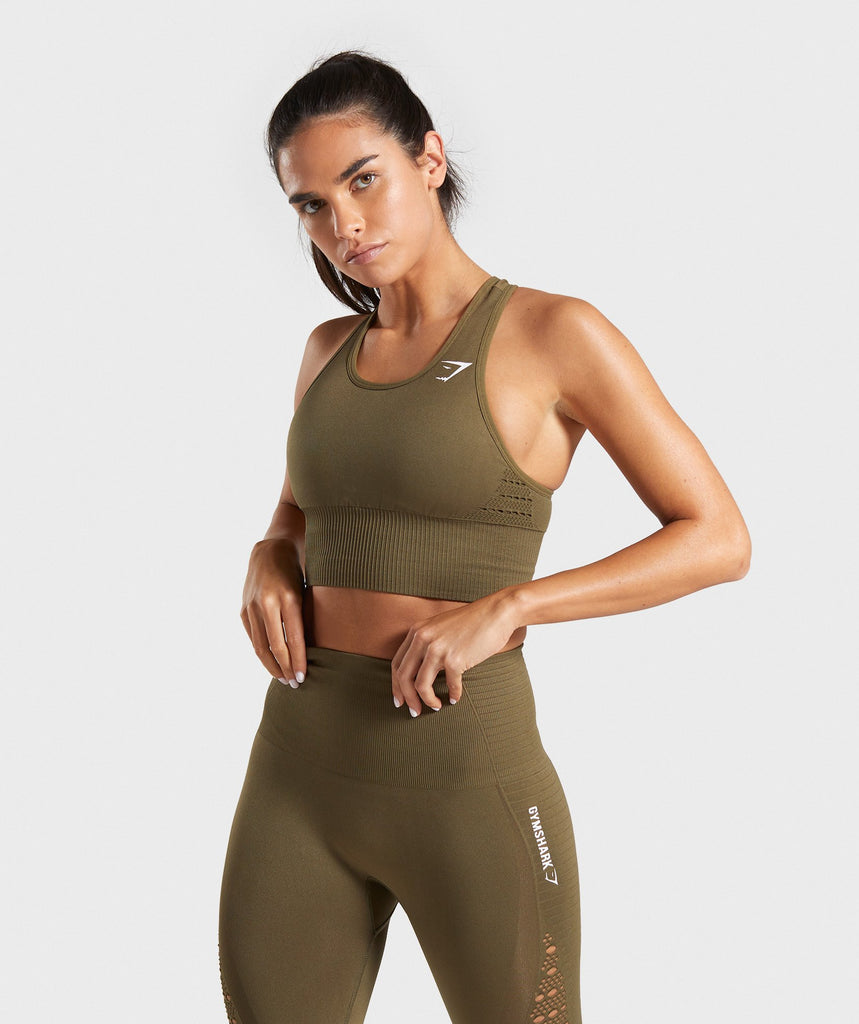 Gymshark Energy Seamless Crop Top - Khaki 1