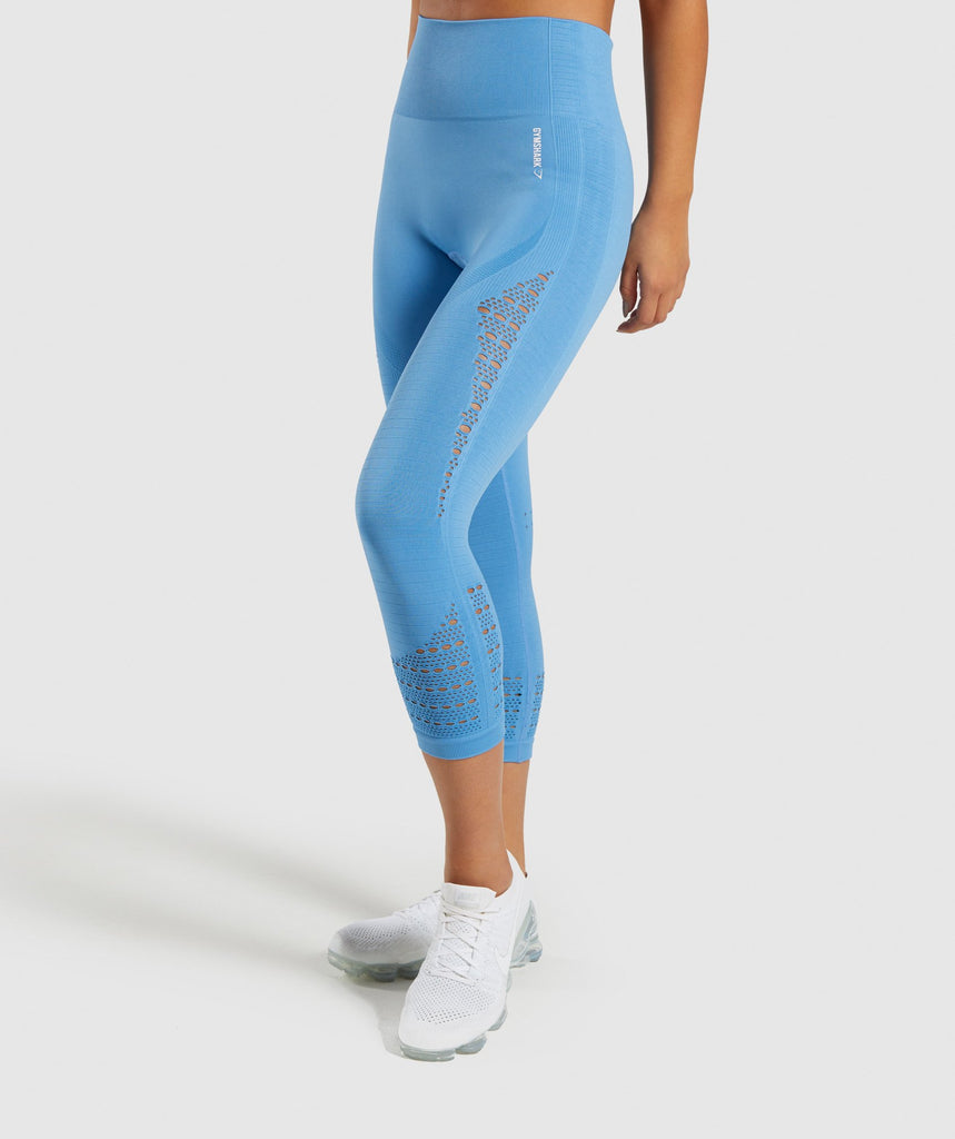 Gymshark Energy+ Seamless Cropped Leggings -  Blue 1