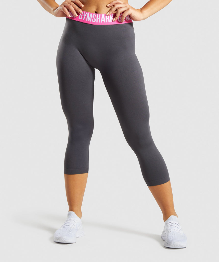 Gymshark Fit Cropped Leggings - Charcoal/Pink 1