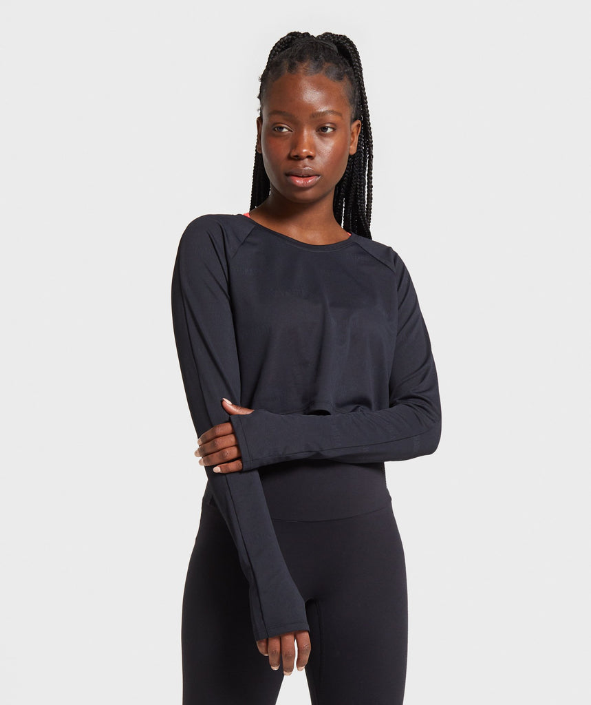 Gymshark Focus Long Sleeve Crop Top - Black 1