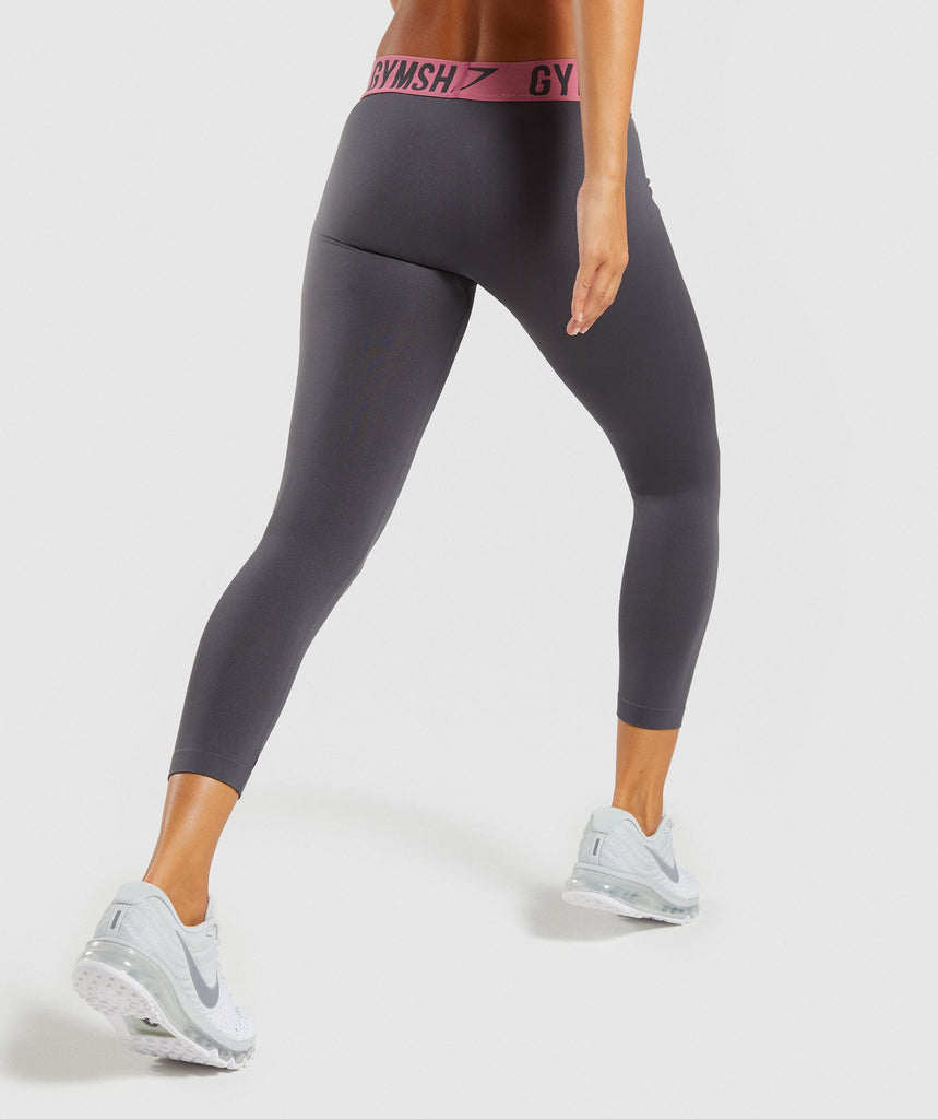 Gymshark Fit Cropped Leggings - Charcoal/Dusky Pink 2