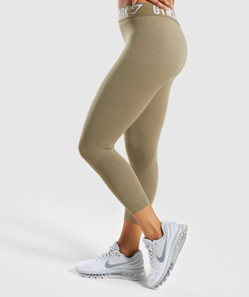 Gymshark Fit Cropped Leggings - Washed Khaki/White 4