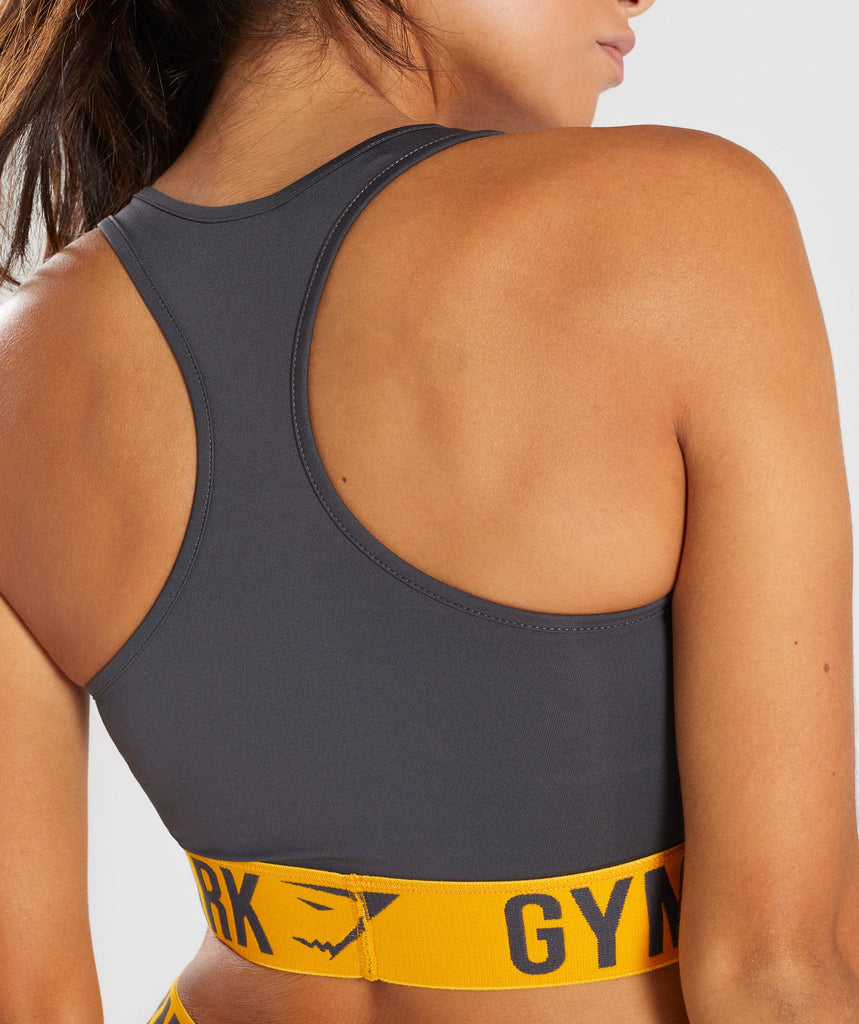 Gymshark Fit Sports Bra - Charcoal/Citrus Yellow 6