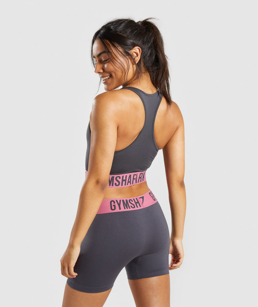 Gymshark Fit Sports Bra - Charcoal/Dusky Pink 2