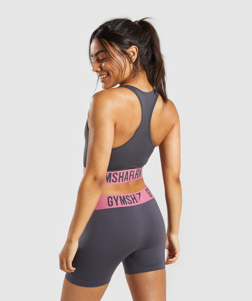 Gymshark Fit Sports Bra - Charcoal/Dusky Pink 1