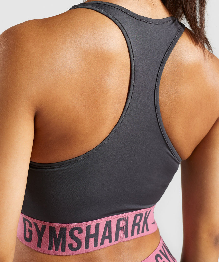 Gymshark Fit Sports Bra - Charcoal/Dusky Pink 6
