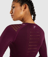 Gymshark Flawless Knit Long Sleeve Crop Top - Ruby 12