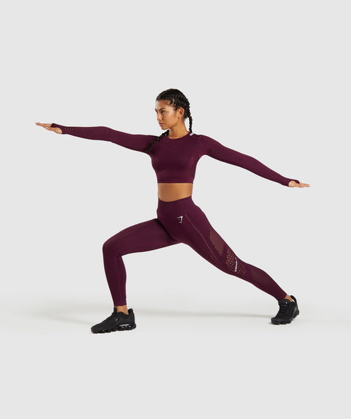 Gymshark Flawless Knit Long Sleeve Crop Top - Ruby 3