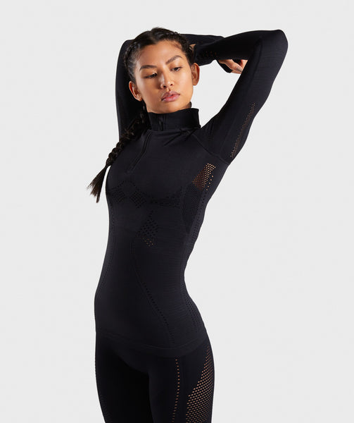 Gymshark Flawless 1/2 Zip Up Pullover - Black 2