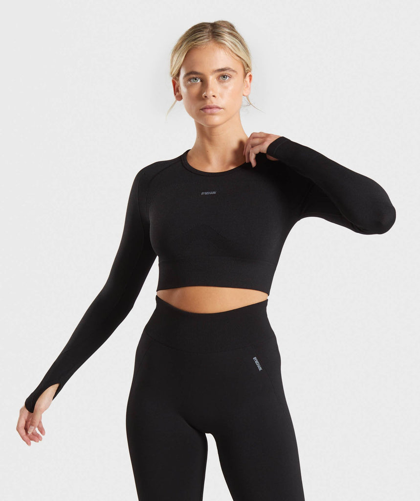 Gymshark Flex Sports Long Sleeve Crop Top - Black/Grey 1