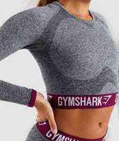 Gymshark Flex Long Sleeve Crop Top - Charcoal/Deep Plum 11
