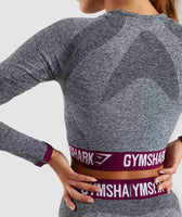 Gymshark Flex Long Sleeve Crop Top - Charcoal/Deep Plum 12