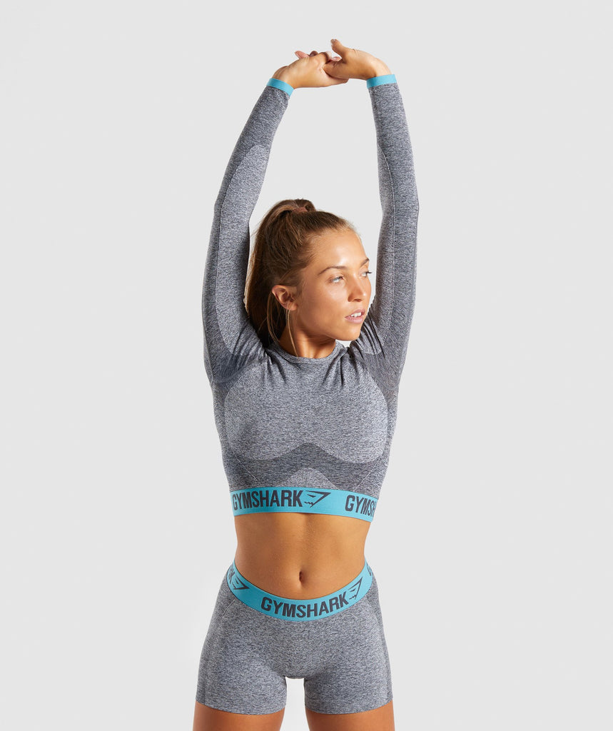Gymshark Flex Long Sleeve Crop Top - Charcoal Marl/Dusky Teal 1