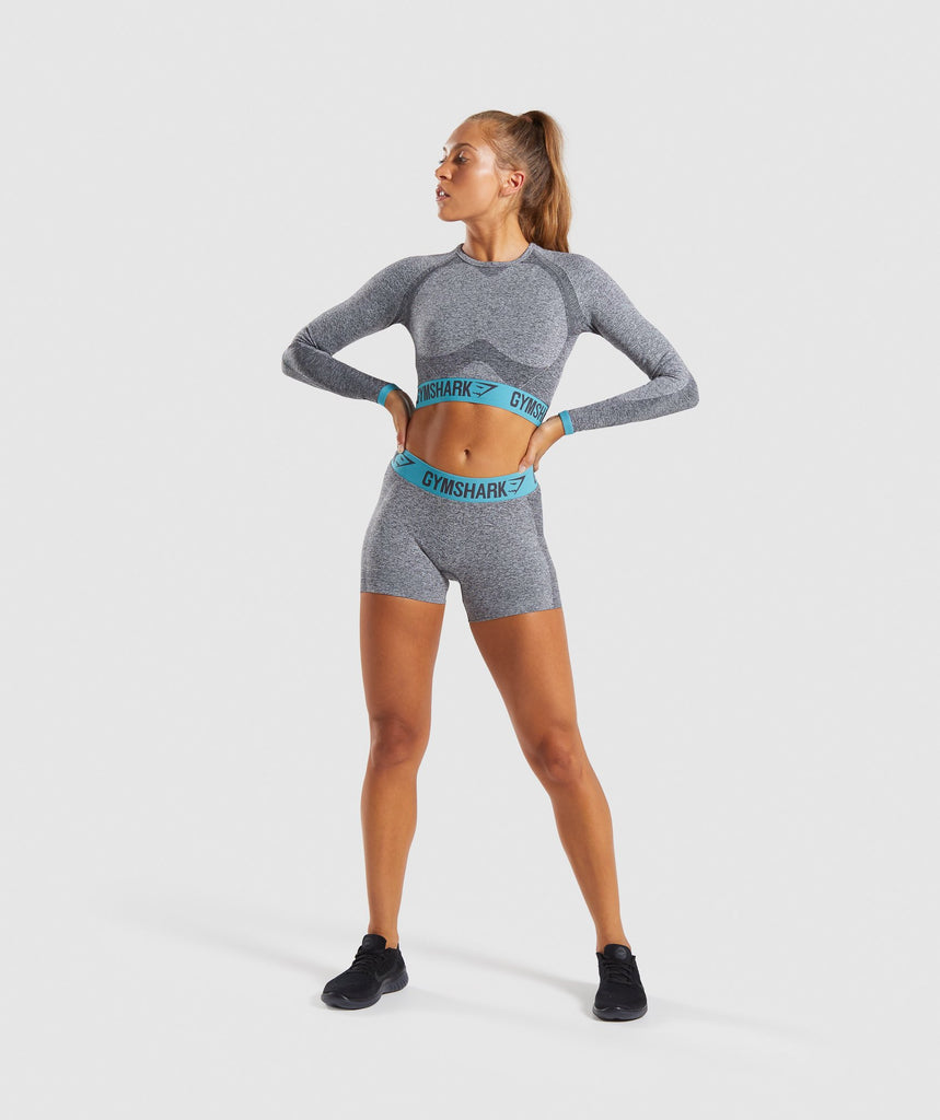 Gymshark Flex Long Sleeve Crop Top - Charcoal Marl/Dusky Teal 5