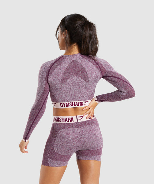 Gymshark Flex Long Sleeve Crop Top - Dark Ruby/Blush Nude 1