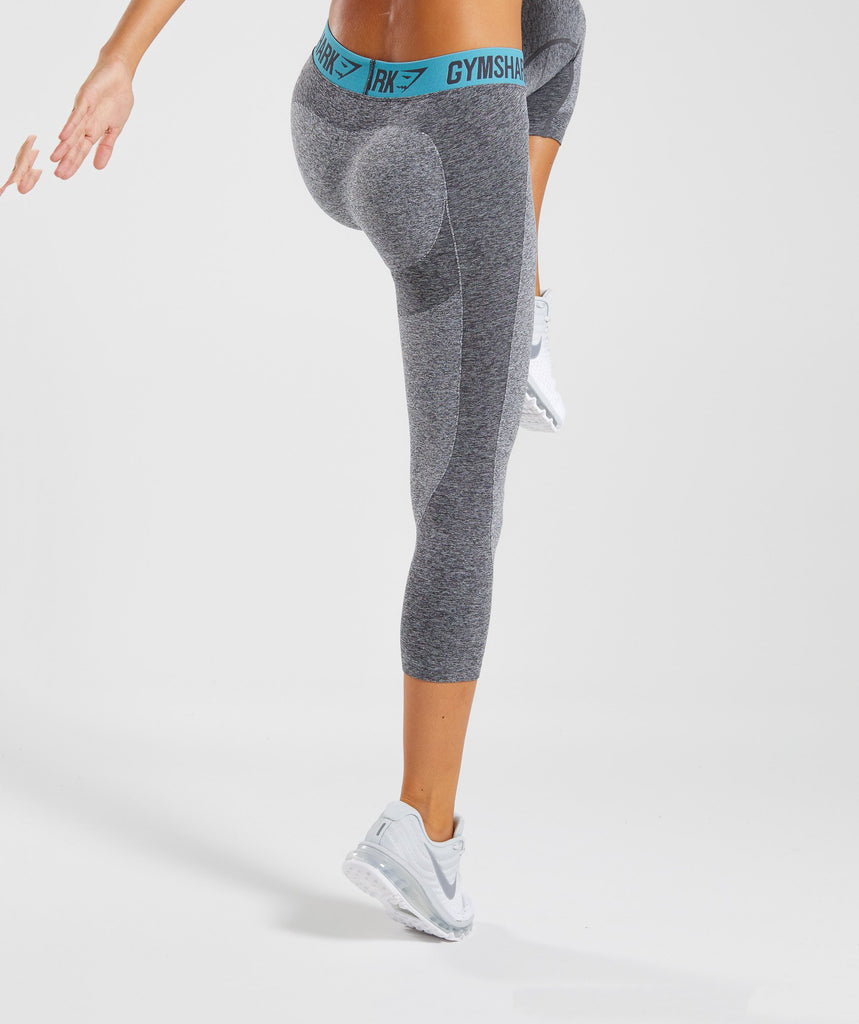 Gymshark Flex Cropped Leggings - Charcoal Marl/Dusky Teal 2