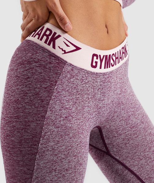 Gymshark Flex Cropped Leggings - Dark Ruby Marl/Blush Nude 3