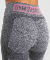 Gymshark Flex High Waisted Leggings - Charcoal Marl/ Dusky Pink 12