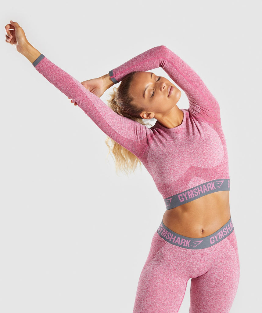 Gymshark Flex Long Sleeve Crop Top - Dusky Pink Marl/Charcoal 1