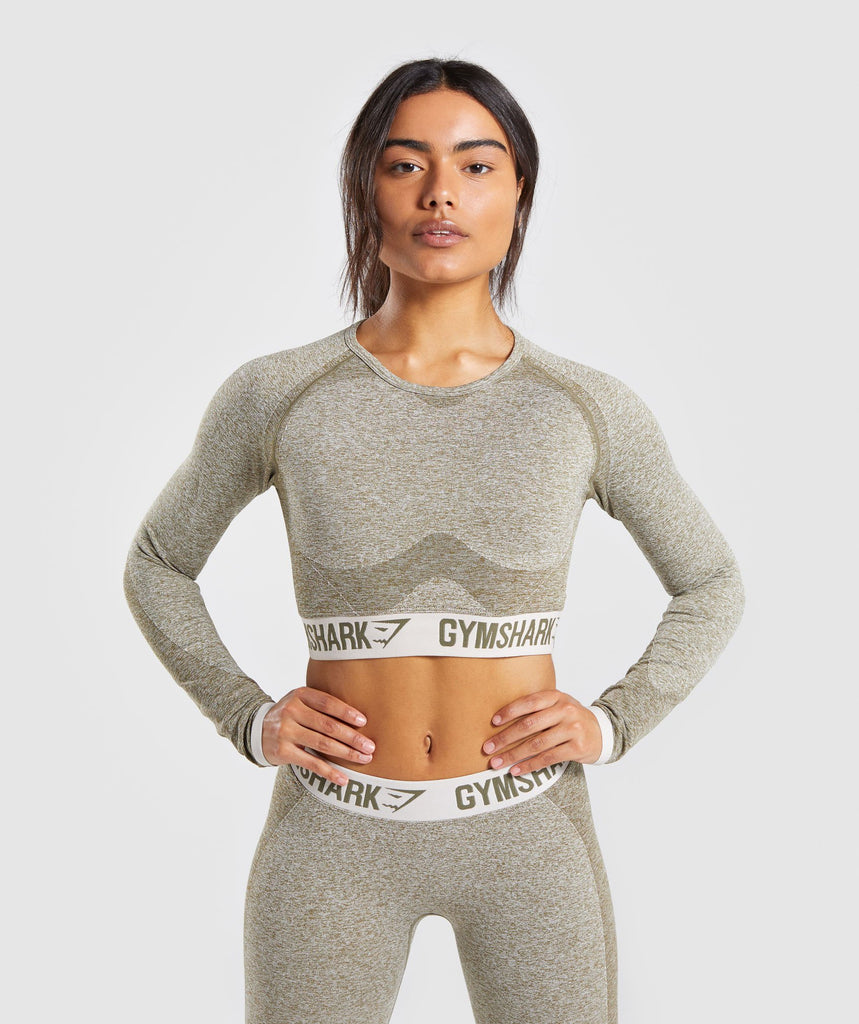 Gymshark Flex Long Sleeve Crop Top - Khaki/Sand 1