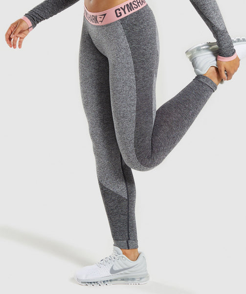 Gymshark Flex Leggings - Charcoal Marl/Peach Pink 2