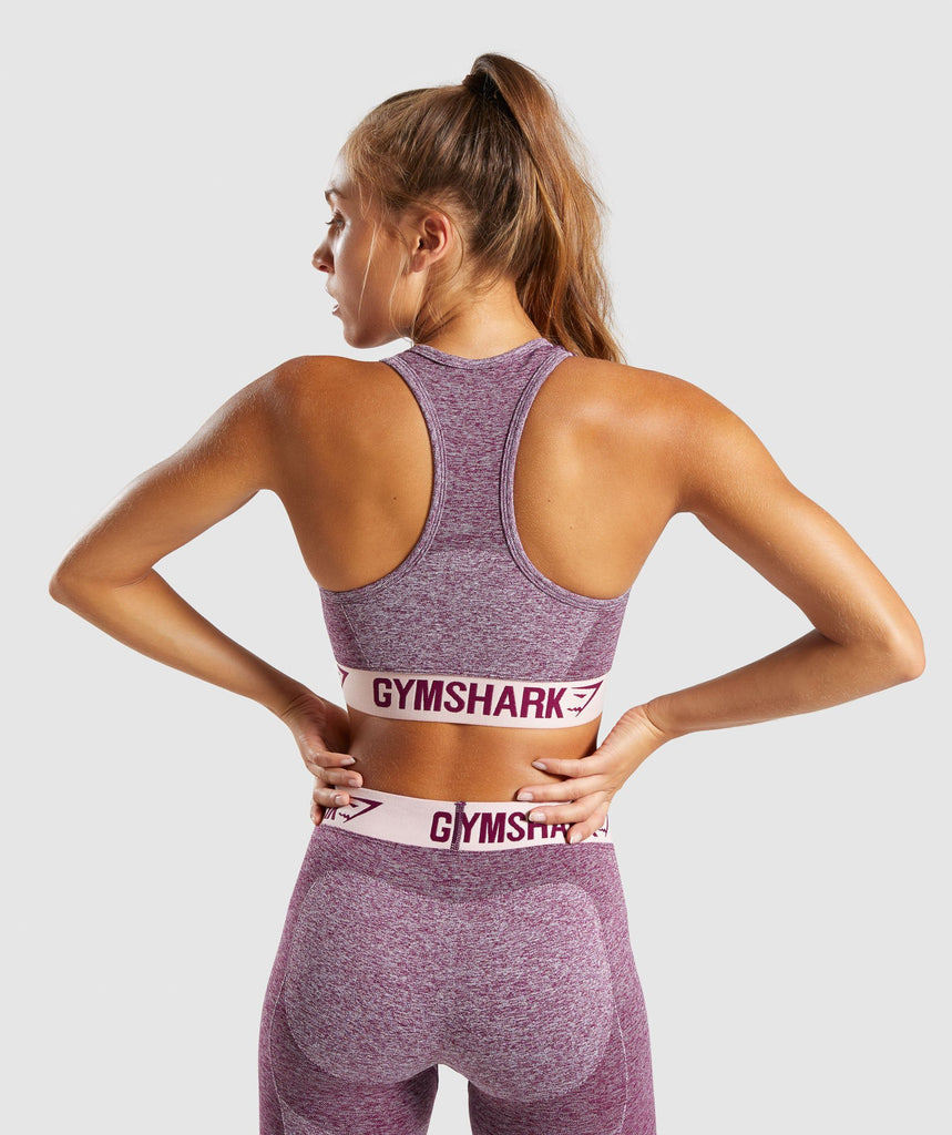 Gymshark Flex Sports Bra - Dark Ruby Marl/Blush Nude 2