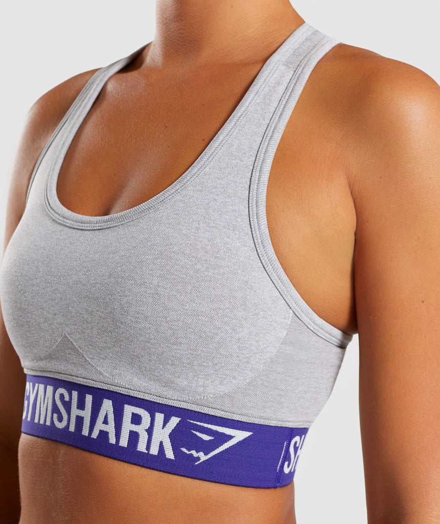 Gymshark Flex Sports Bra - Light Grey Marl/Indigo 5