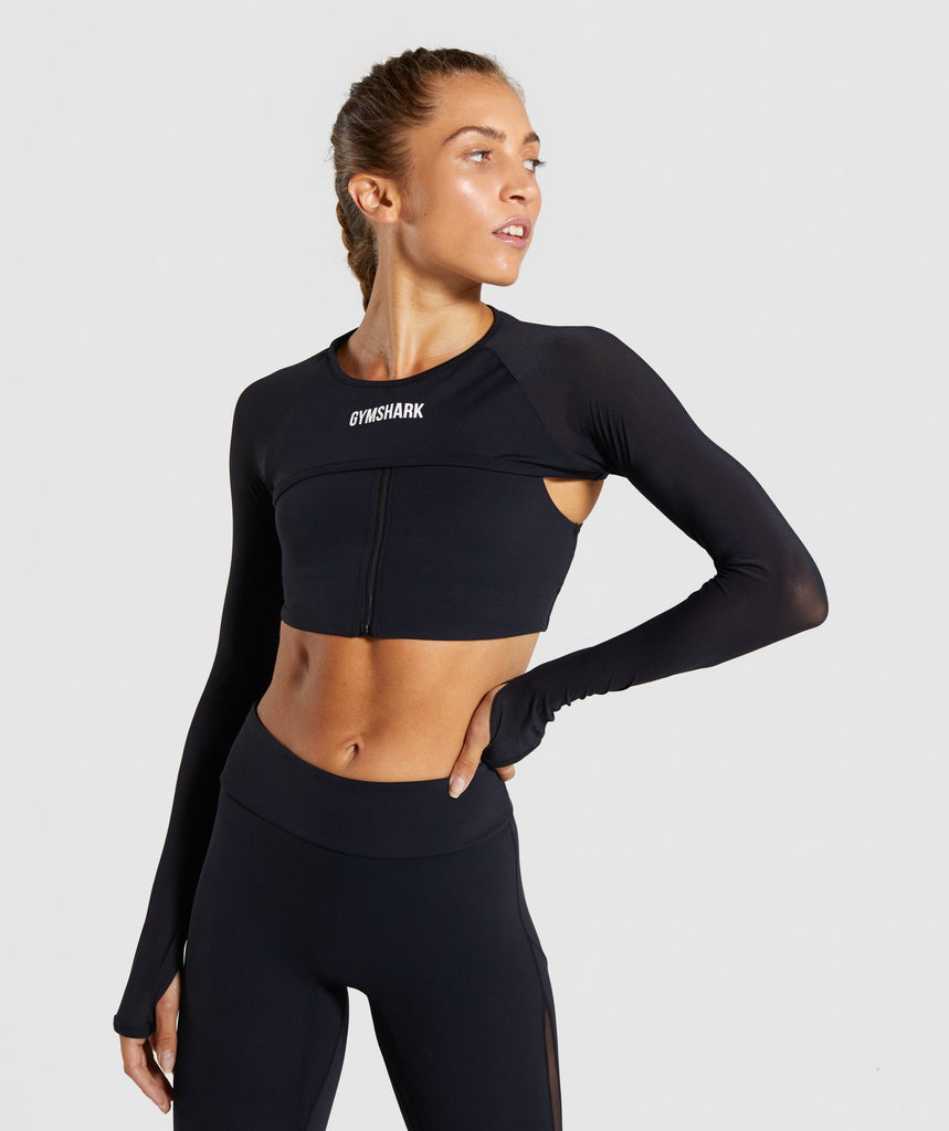 Gymshark Form Supercrop Shrug- Black 1