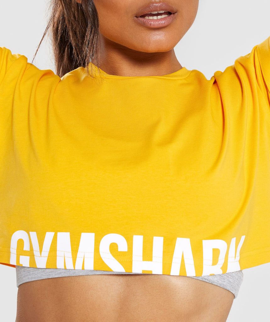 Gymshark Fraction Crop Top - Citrus Yellow/White 5