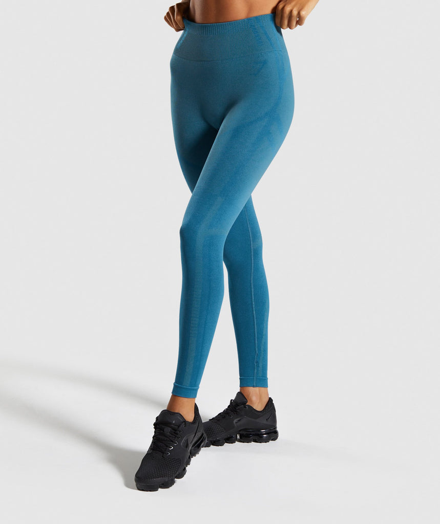 Gymshark Geo Seamless Leggings - Teal 1