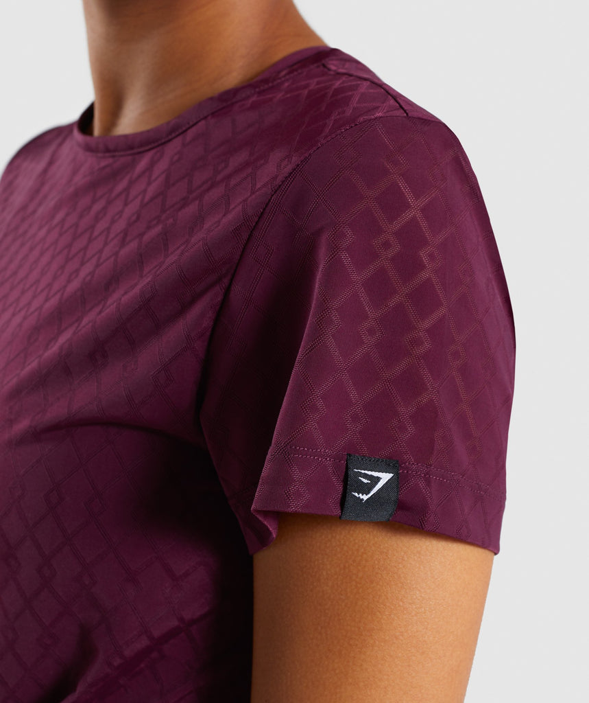 Gymshark Geo Mesh Two In One Top - Dark Ruby 5
