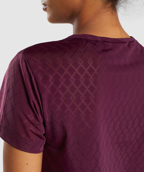 Gymshark Geo Mesh Two In One Top - Dark Ruby 4