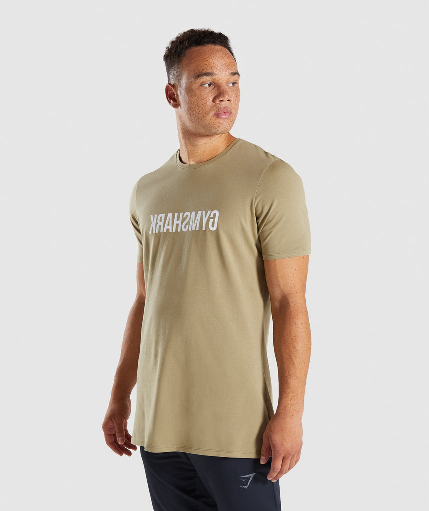Gymshark Reverse T-Shirt - Light Khaki 4