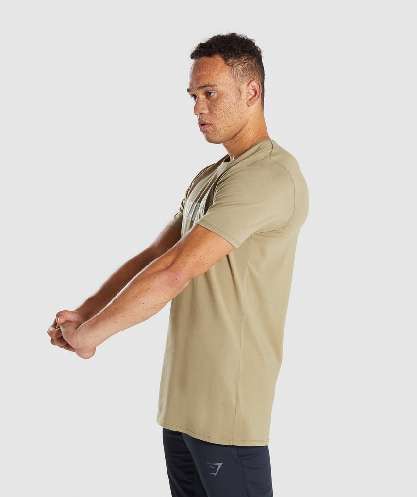 Gymshark Reverse T-Shirt - Light Khaki 6